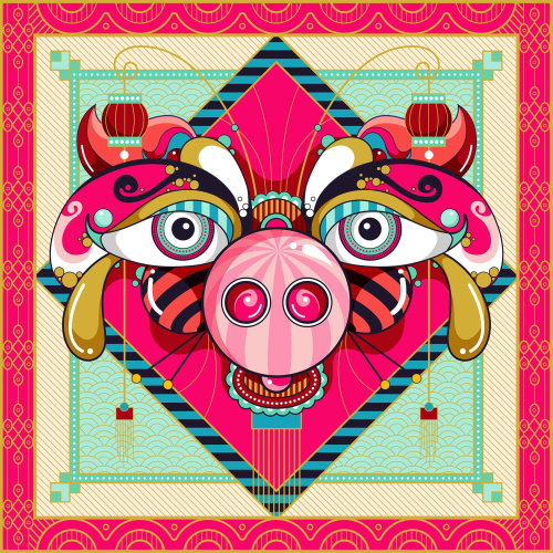 year of the pig portrait for Chinese New Year 2019