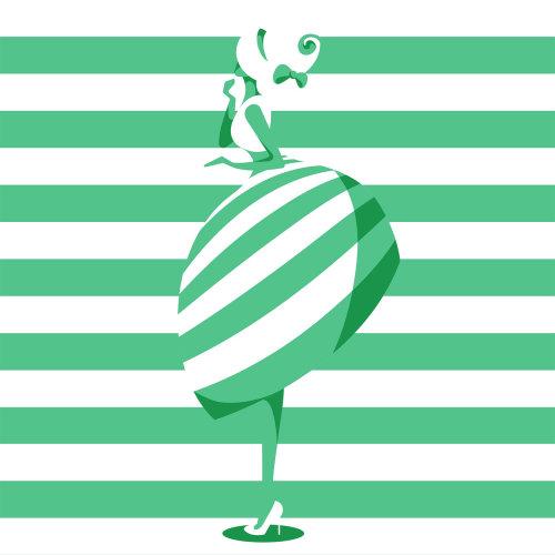穿着50或60年代复古风格的女性形象的时装插画