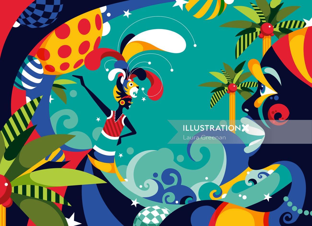 Wall Street Journal Haiti Carnival Travel Holiday poster