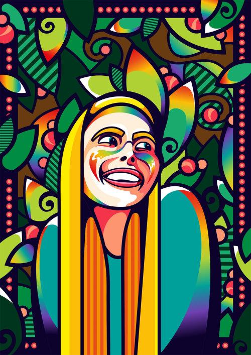 Portrait animation of classic rock music star Joni Mitchell