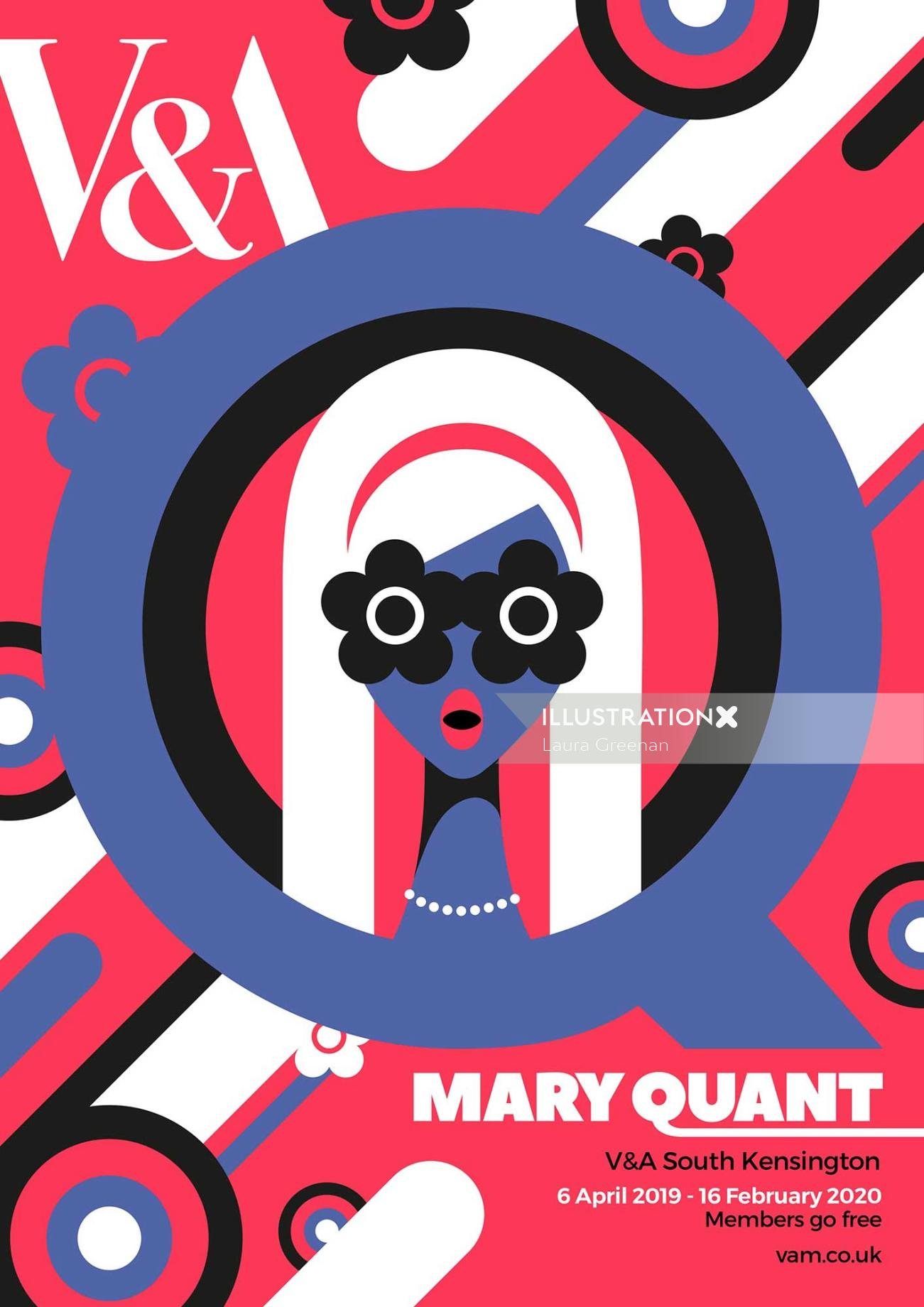 Poster designs for an exhibition from 60's fashion designer Mary Quant.