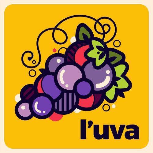 意大利语单词的图形设计:葡萄