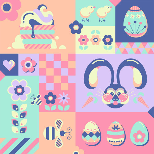 A collection of easter illustrations.