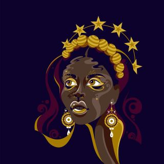 A pop art style dark skinned female portrait.