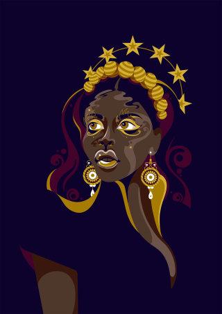 A pop art style dark skinned female portrait.