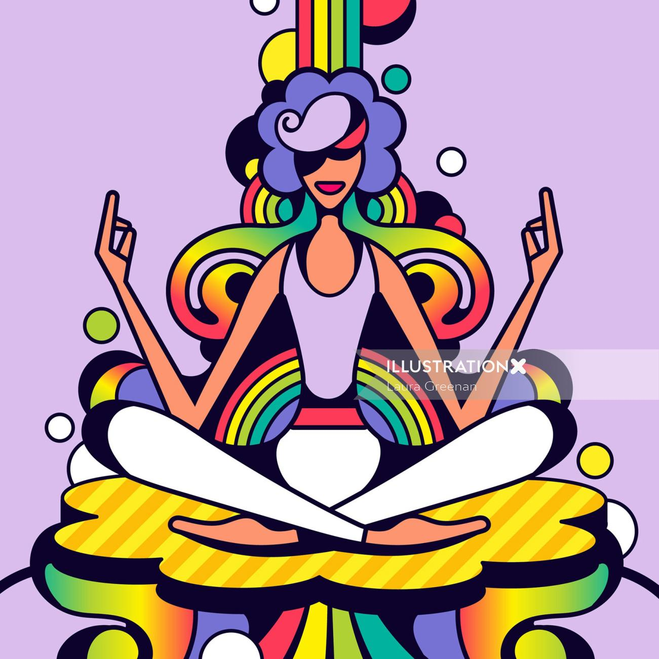 60s pop art style illustration of a woman practicing yoga.