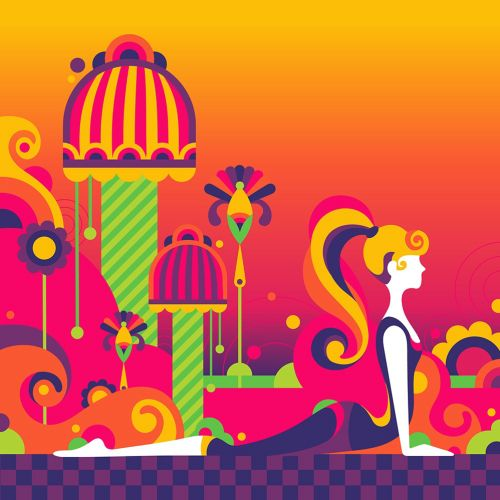 A fun, colourful, pop art style, 60s, psychedelic health, mindfulness, yoga scene.