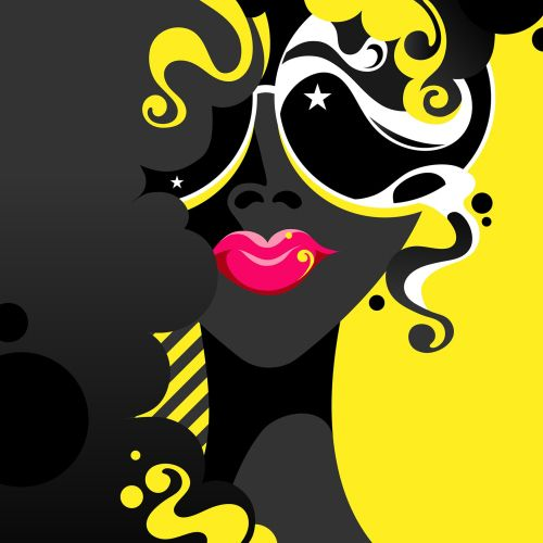 A bright pop art style female portrait with sunglasses, curly hair and vibrant pink lips.