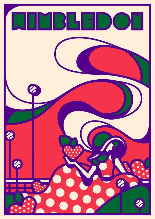 温布尔登运动风格的广告海报。