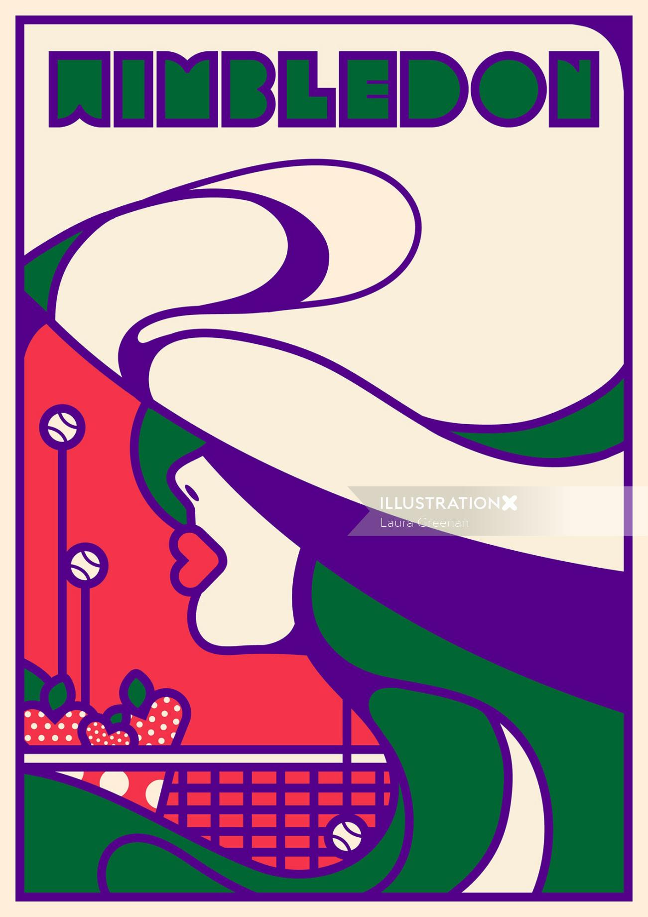 A retro, pop art, art deco, art nouveau lifestyle advertising poster for the Wimbledon.
