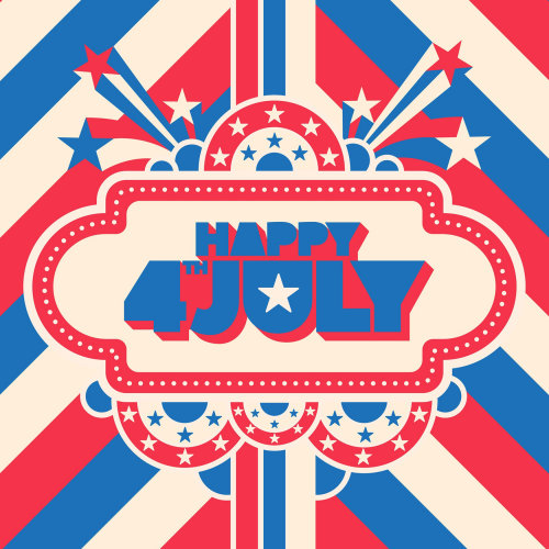 A patriotic, retro, pop art, lifestyle illustration for American Independence Day 4th July.