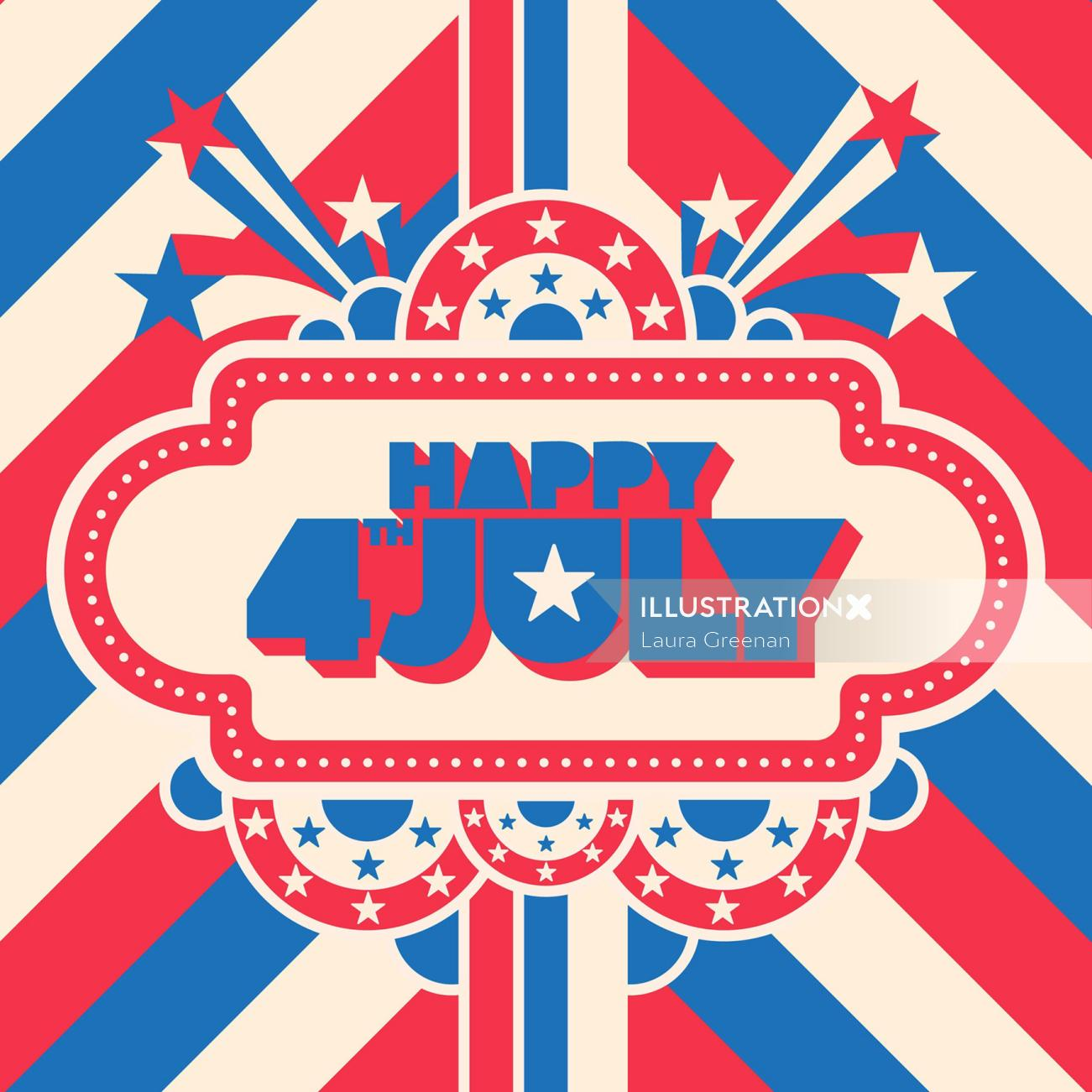 Typography art of Happy 4th July