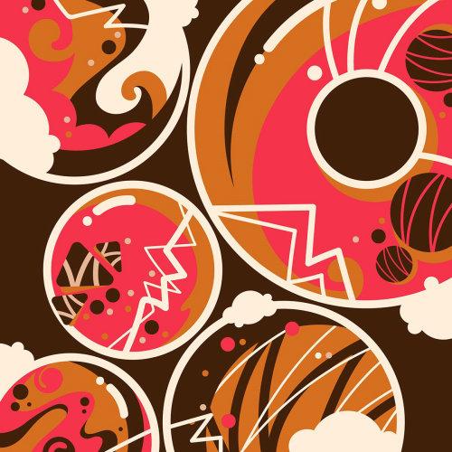 波普艺术风格多彩的甜巧克力和覆盆子甜甜圈。