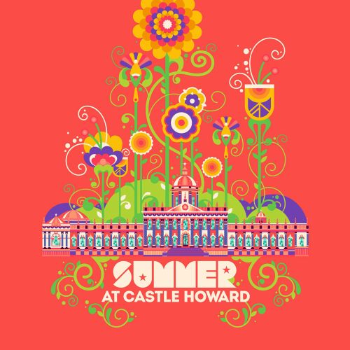 A bright, pop art style design of Castle Howard stately home.