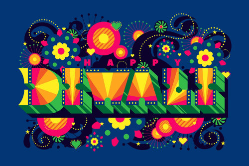 A pop art, vibrant typographic design for Diwali.