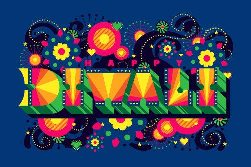 Vibrant typographic design for the Hindu festival of lights Diwali.
