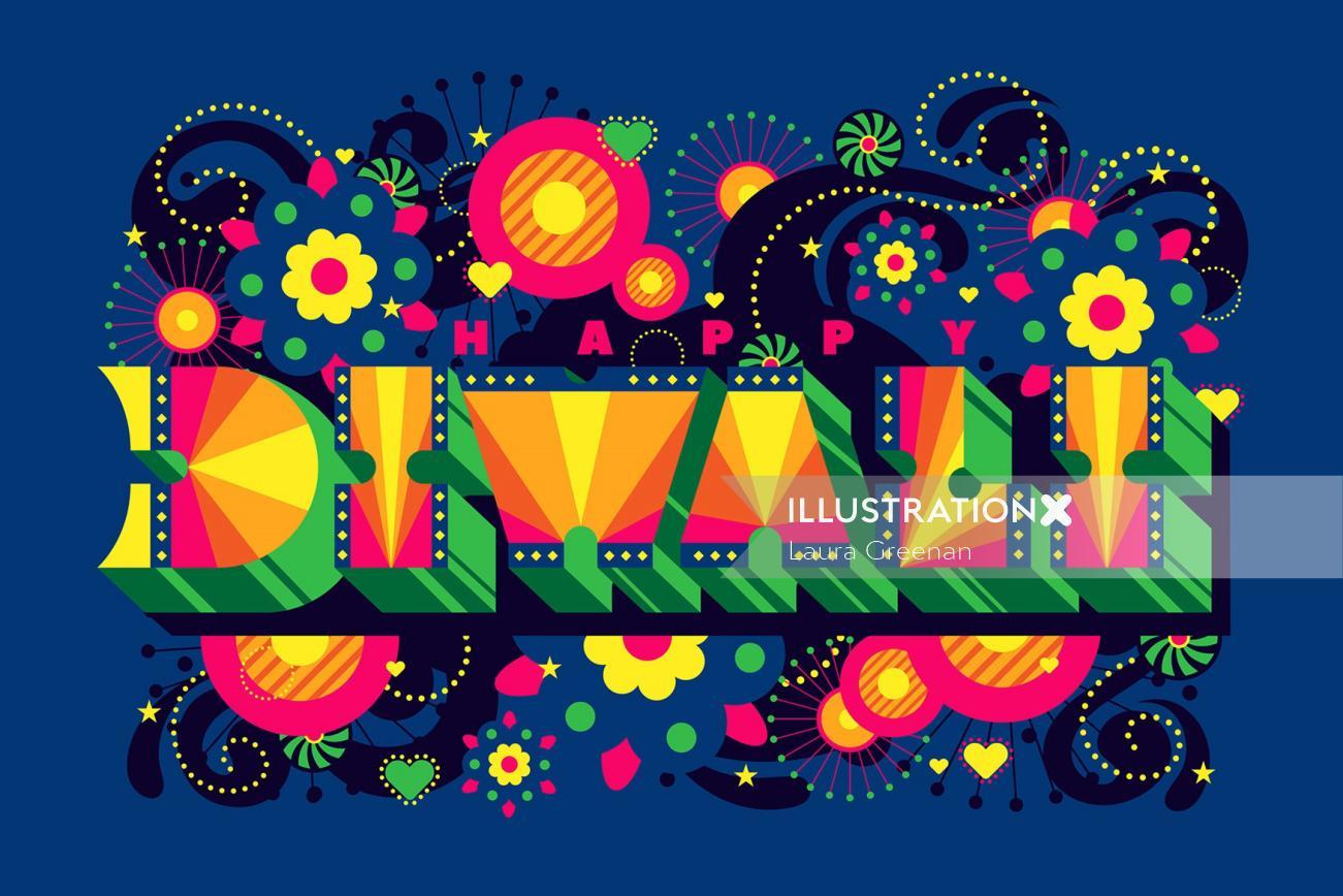 A pop art, vibrant typographic design for Diwali.