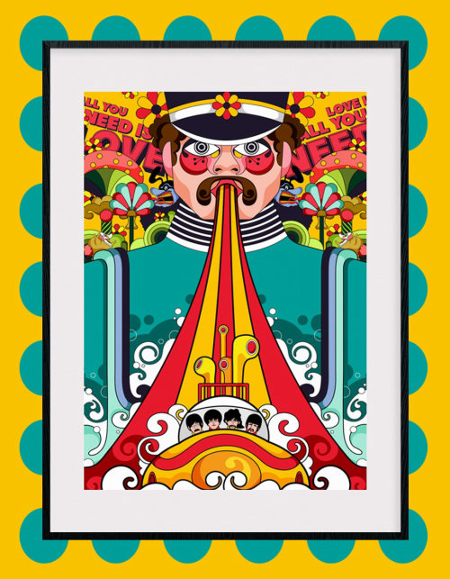 Poster design for Yellow Submarine movie by The Beatles.