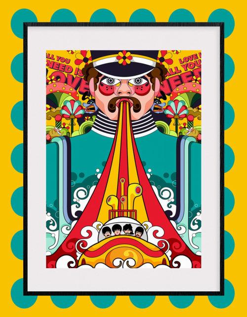 披头士乐队的《黄色潜水艇》电影海报设计。