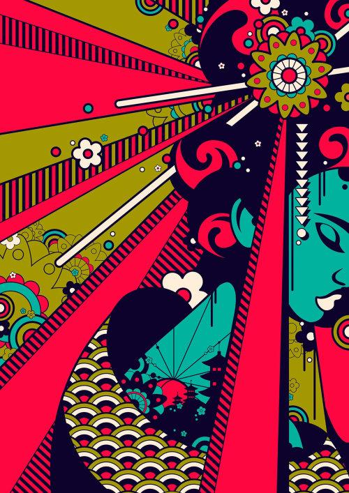 日本艺妓的波普艺术,有很多花和图案