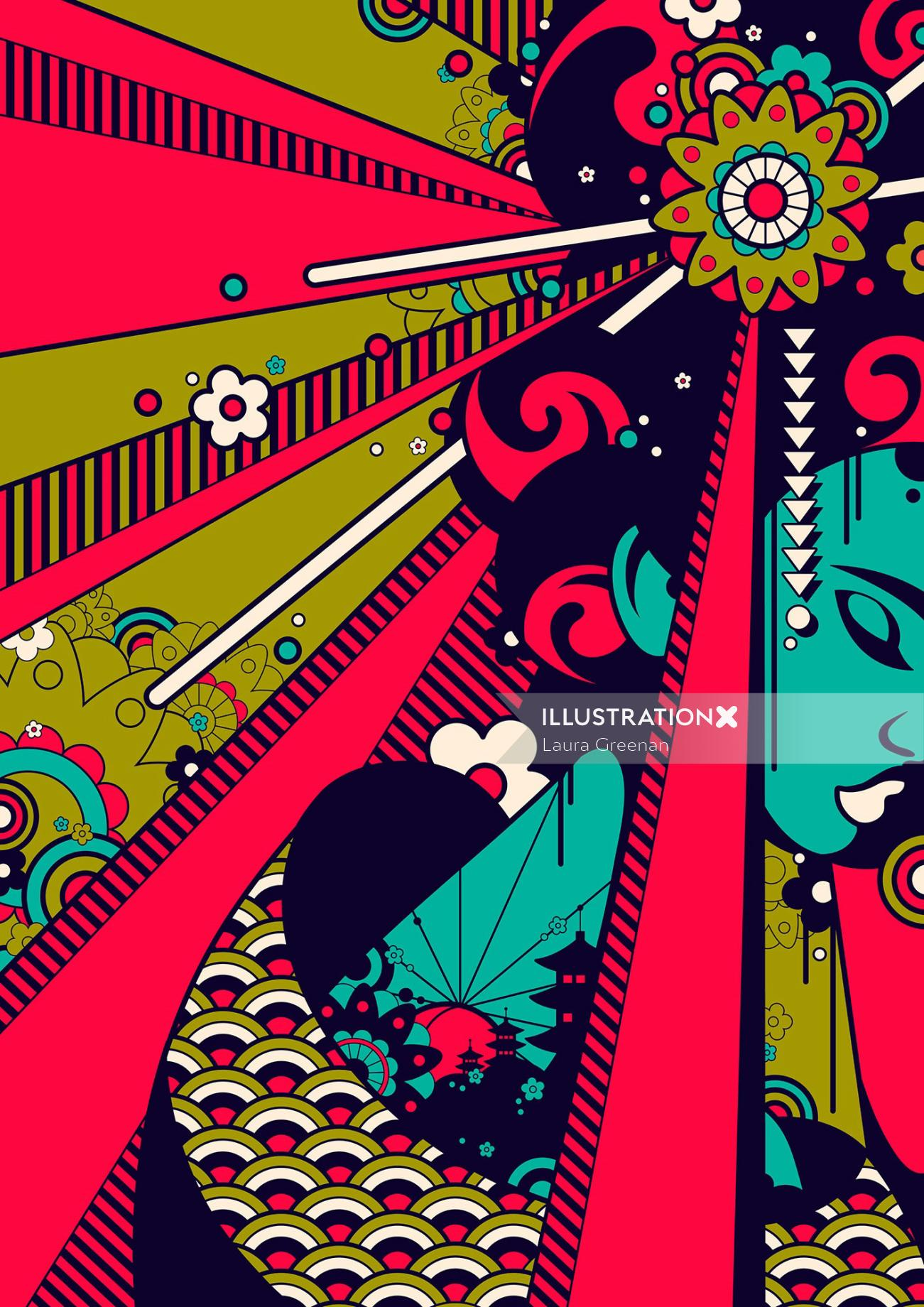 Pop art of female Japanese geisha with lots of flowers and pattern