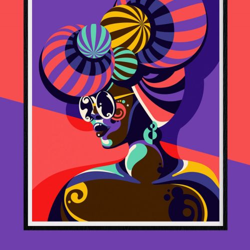 A colourful and fun pop art style portrait of a dark skinned woman.