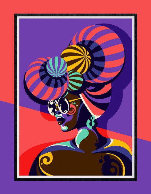 深色皮肤的女人的彩色和有趣的波普艺术风格的肖像。