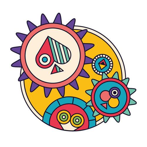 从《 Poker Mind》出版物中发现一些纸牌齿轮和轮子的插图。