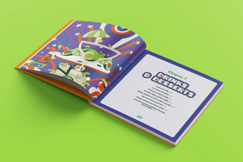 Fun, colourful, vibrant, retro, psychedelic, 60s, pop art style dessert page for Avocado Obsession.