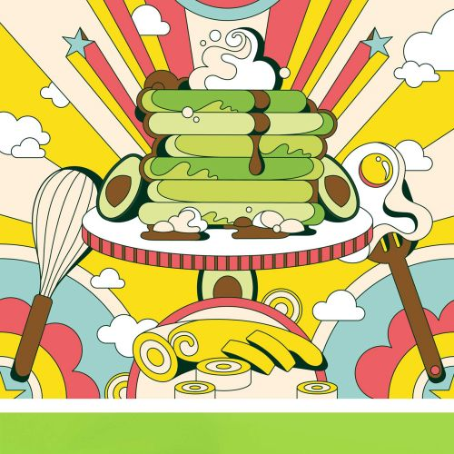 Fun, colourful, vibrant, retro, psychedelic, 60s, pop art style breakfast page for Avocado Obsession