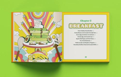 Fun, colourful, vibrant, retro, psychedelic, 60s, pop art style interior illustrations for Avocado O