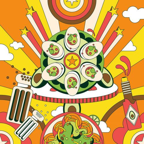 牛油果迷恋有趣,色彩缤纷,充满活力,复古,迷幻,六十年代的波普艺术风格小吃页面。