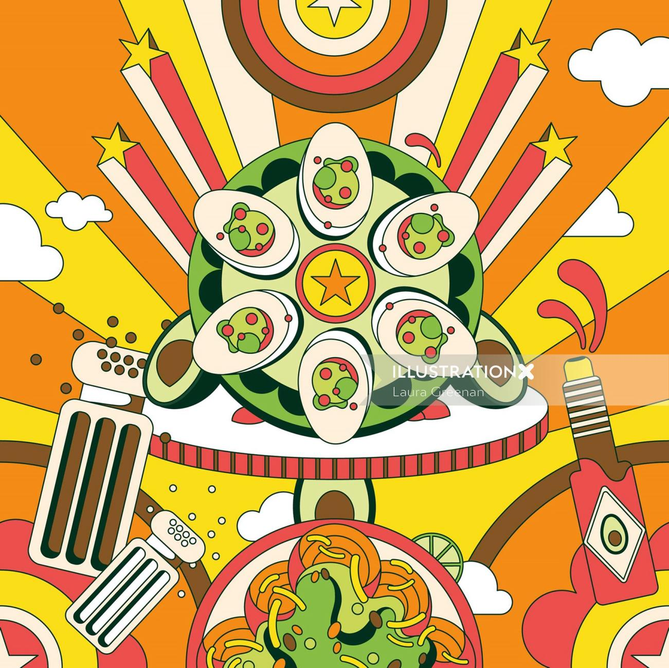 Fun, colourful, vibrant, retro, psychedelic, 60s, pop art style snacks page for Avocado Obsession.
