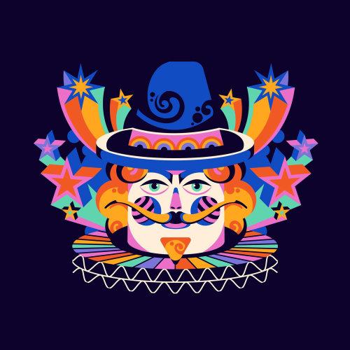 A pop art style, fun, graphic, retro, vibrant portrait of Guy Fawkes design for Bonfire Night / Guy