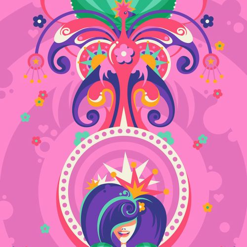 A fantastical, vibrant and fun female portrait of a flower queen.