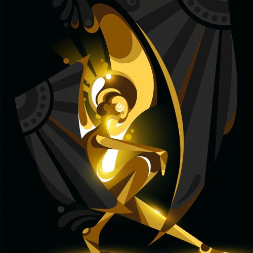 A shiny gold figure/angel with black wings.