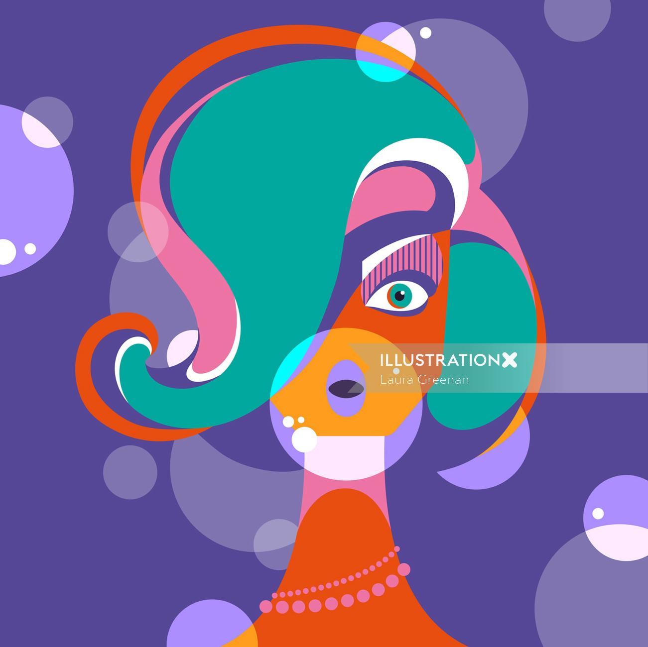 A vibrant, colourful, fun, retro, female pop art style portrait of a woman blowing bubblegum.