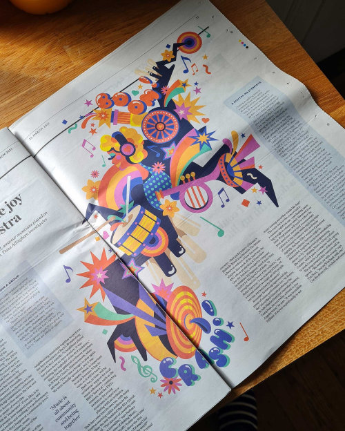 A fun, bright, vibrant, fantastical, pop art music editorial illustration.