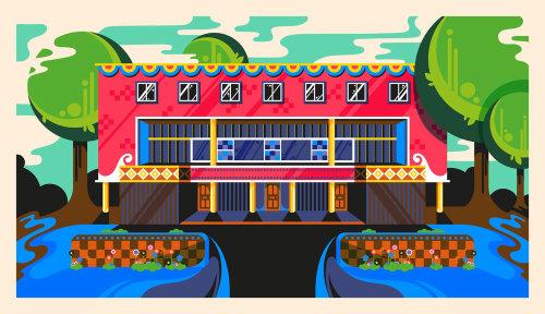 A colourful, vibrant, bright, sunny, fun, pop art style architecture illustration of 2 Willow Road i