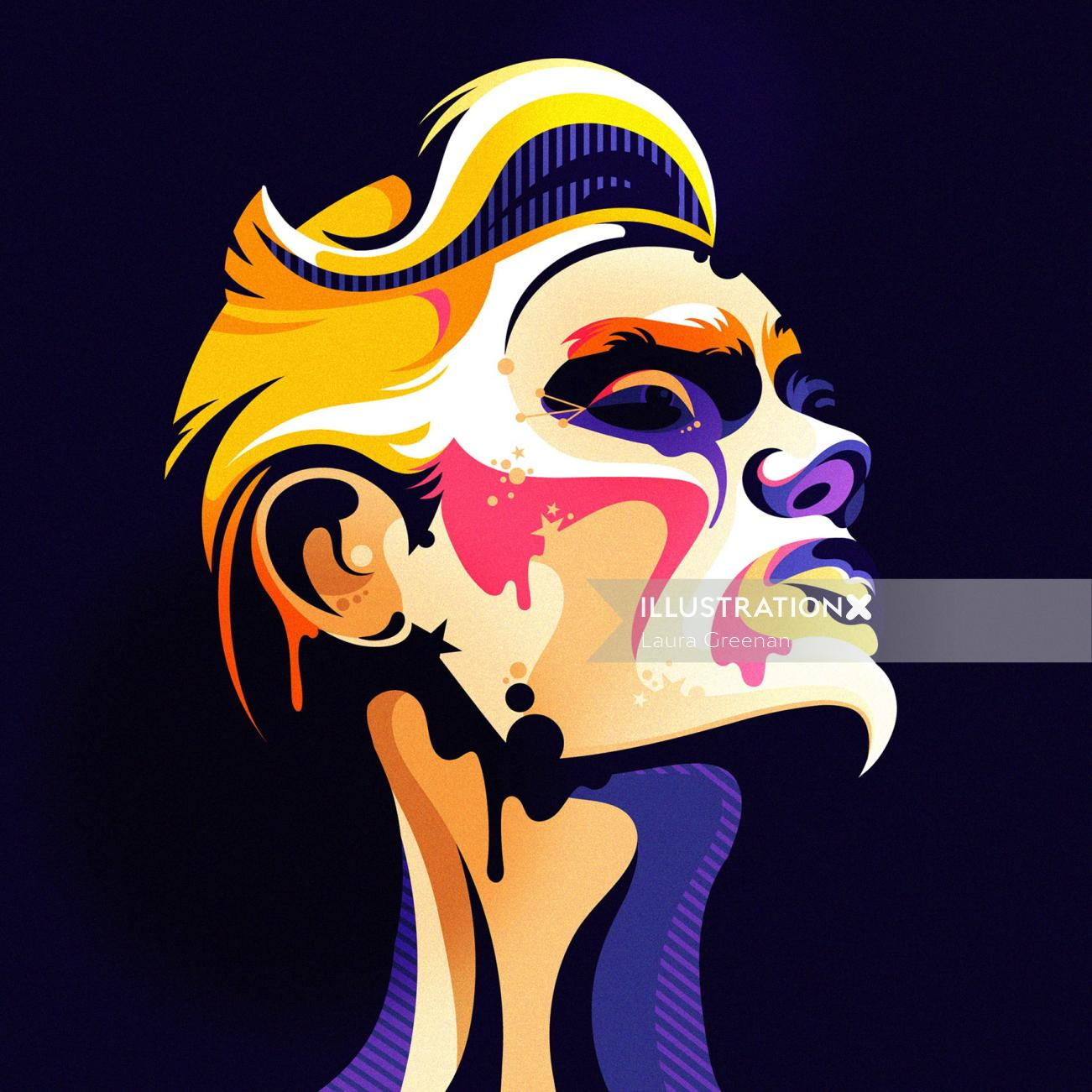 A colourful, imaginative, pop art style male portrait.