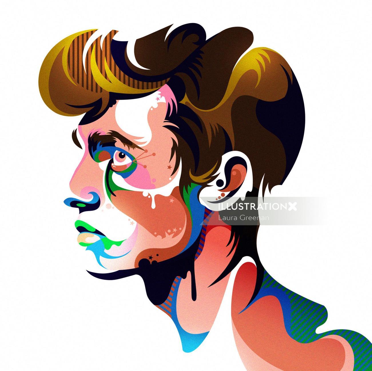 A colourful, imaginative, pop art style male portrait.