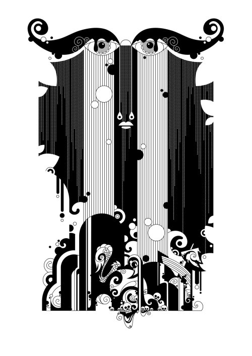 An Aubrey Beardsley, 60s, psychedelic,  inspired black and white illustration called 'The Siren'.