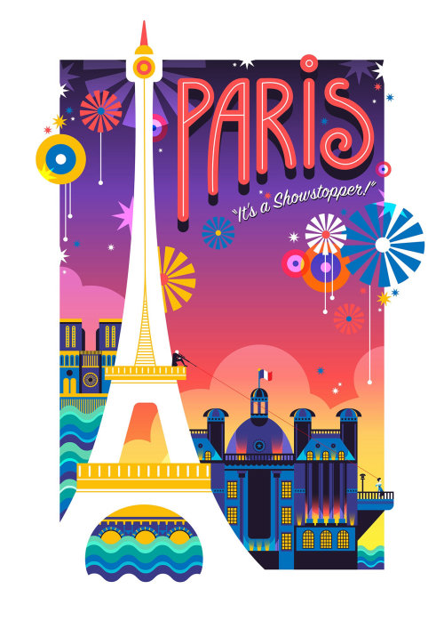 A travel poster for Paris, France created in a pop art colourful and vibrant style.