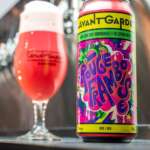A vibrant, colourful, pop art style fruity beer label for a fruity alcoholic beer called Rouge Framb