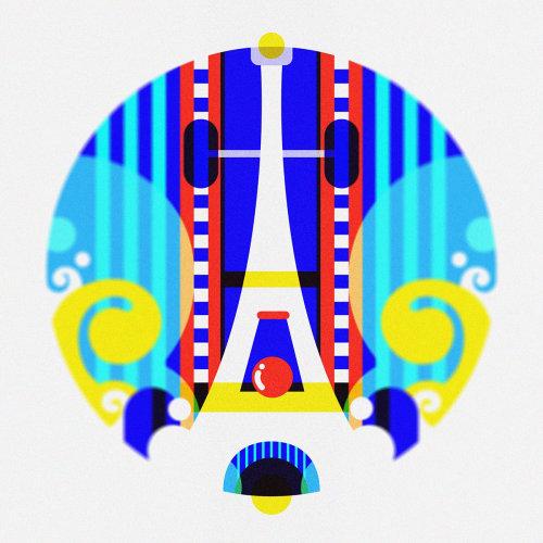 一级方程式法国大奖赛的图形、现代波普艺术、纯色风格图标/现场插图