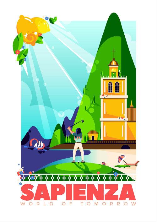 意大利和虚构的意大利海滨小镇 Sapienza 的旅游海报。