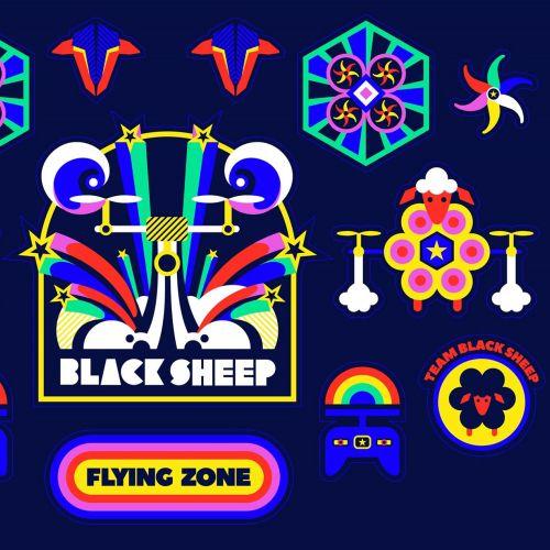 A colourful vibrant rainbow modern pop art style A5 sticker sheet for Black Sheep.