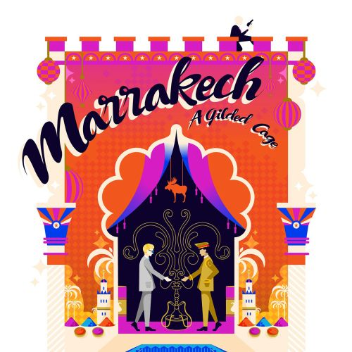A travel poster for Marrakech, created in a pop art colourful and vibrant style.