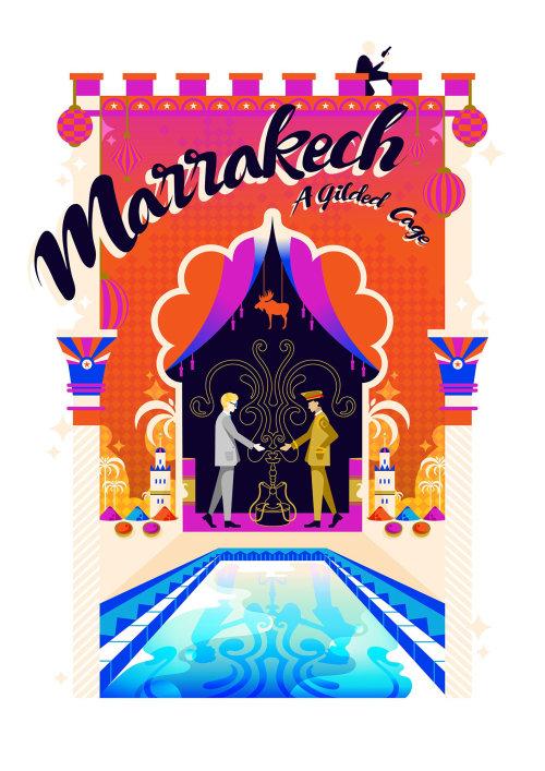 马拉喀什的旅游海报,以波普艺术色彩缤纷、充满活力的风格创作。