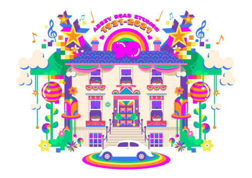 A colourful and vibrant pop art style architecture illustration of Abbey Road studios.